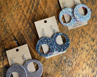 Recycled glitter and leather wonky circle earrings—choose color