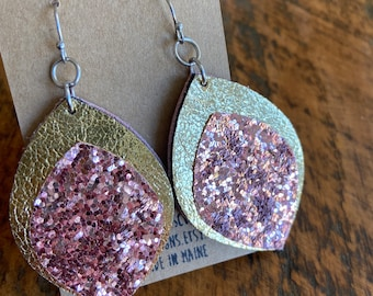 Recycled Glitter and Leather Earrings