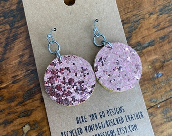 Recycled Leather and Glitter Earrings—pink