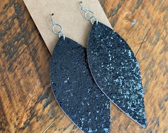 Recycled Glitter and Leopard Earrings