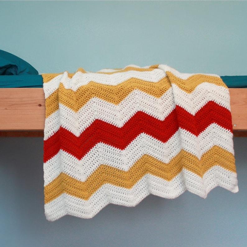 Crochet Blanket Pattern Chevron Blanket Etsy