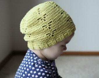 Crochet Hat Pattern - Dragonfly Slouch Hat (Baby-Adult)