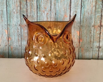 Pottery & Glass Glass Blown Amber Glass Owl Shaped Candle Holder Vase