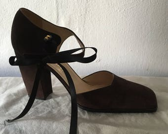 Chanel suede shoes dark purple