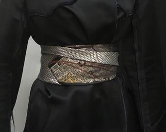 Silk obi belt Moschino Pierre Cardin made of 2 ties
