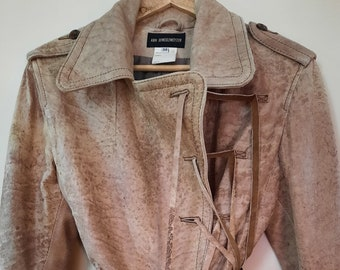 long leather Ann Demeulemeester hairy fringes jacket 80s/90s NotThatSexy vintage medium 38/40 eu size rough patchwork