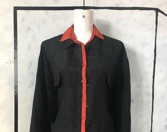 reworked vintage silk blouses XL