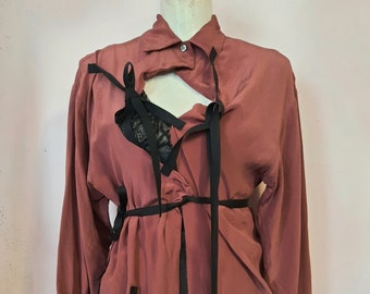"""b""""urgundy"""" blouse Laura Ashley RIPPED !!! small to large eu size NotThatSexy attached belts dark liver purple avant garde silk upcycled"""