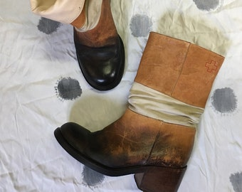 upcycled A.F. Vandevorst leather riding suede boots