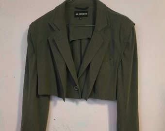 ann demeulemeester vintage 90s jacket double front stretch size large NotThatSexy not lined grey shoulderpads