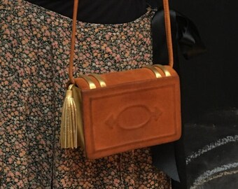 Paloma Picasso book bag suede gold 1980