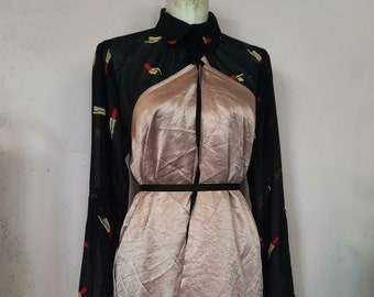 Ann Demeulemeester crackelee items super long wrap skirt pink metallic or champagne trenchcoat  unisex one size jacket long!