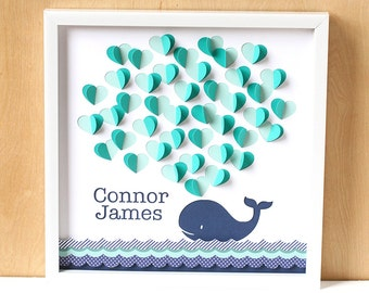 Whale Baby Shower Guest Book, Nautical Baby Shower, Nautical Nursery Decor, Baby Gift, Personalized Nursery Art, 3D Wall Art, Navy and Aqua