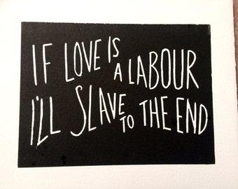 Rise Against 'Swing Life Away' lyrics linocut in black