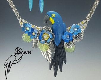 Hyacinth Macaw Designer Necklace Set with Blue Enamel Flowers