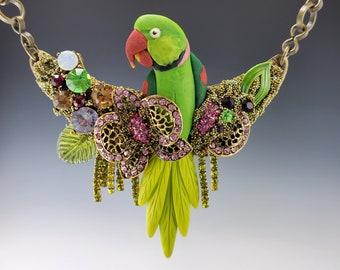 Indian Ringneck Parakeet Designer Necklace Set