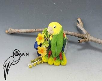 Double Yellow Head Amazon Parrot Bird Ring