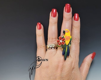 Sun Conure Parrot Bird Ring