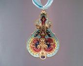 Vintage Brass Cloisonne Red, Blue & White Spoon Pendant - K0106