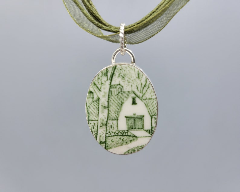 Green and White Barn Scene Broken China and Sterling Pendant image 0