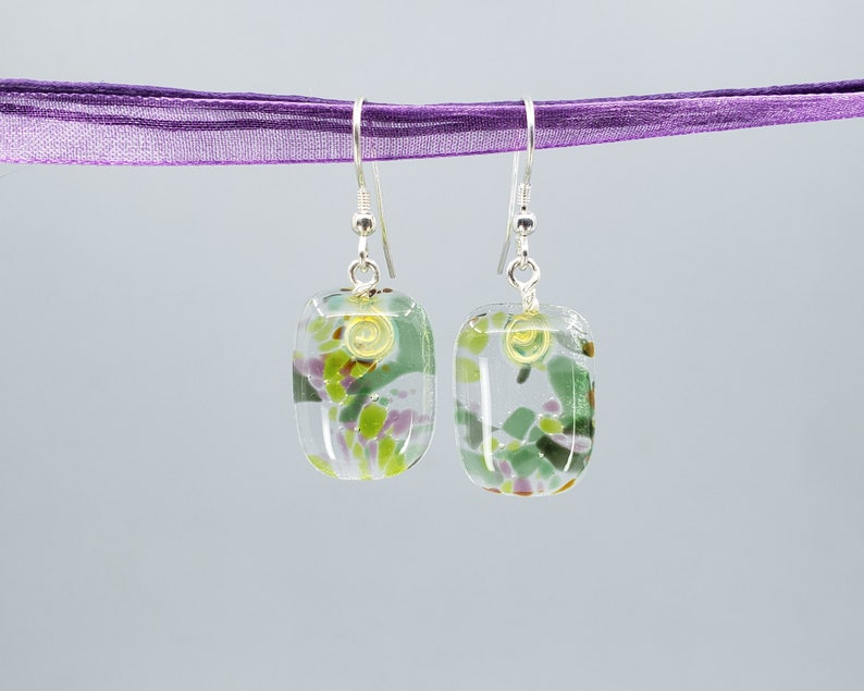 Fused Glass Earrings Garden Collection Green & image 0