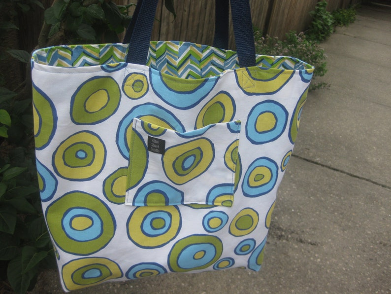 Diapers REVERSIBLE Bridesmaids Knitting Large Beach Bag chevron blue green navy turquoise yellow white for Books