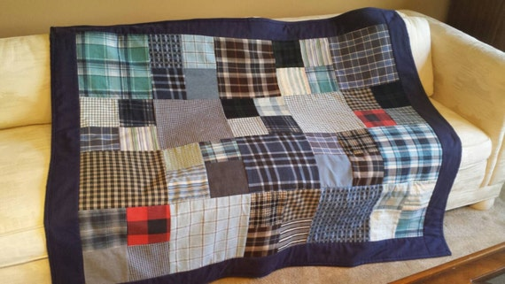 Quilt From Shirts Memory Quilt Throw Blanket From Flannel Or Etsy Beauteous How To Make A Quilted Throw Blanket
