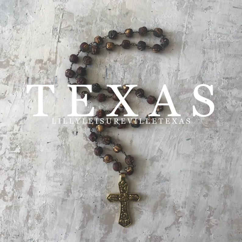 OOAK Texas Style Necklace Gold Floral Carved Cross Pendant Christi Gold Gilded Clay Beaded Necklace Rosary Style Hand Wire Wrapped