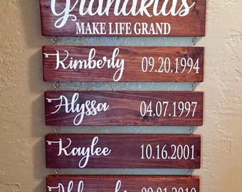 Grandkids MAKE LIFE GRAND Grandparent GiftFamily Plank Signs Custom Family SignsGrandkids SignsGrandpa GiftGrandchildrenGrandma Gift