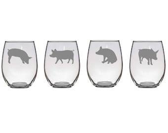 Set of 2 or 4 Poses,Etched Pig Wine Glasses,Pig Wine Glasses,Pig Barware,Stemless Pig Glassware,Pig Glass,Farm Animal Wine Glasses,Pig Gifts