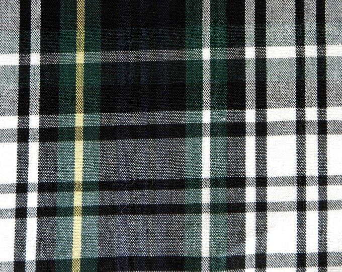 Plaid CAMPBELL DRESS Fabric Tartan Blue Green White Yellow Apparel Home Decorating Quilt Drapery