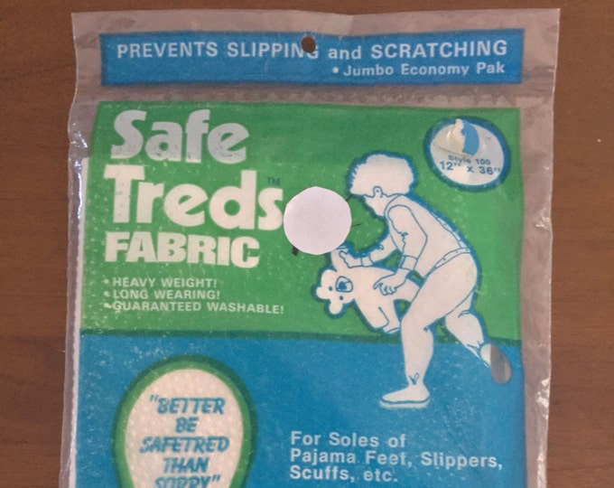 Rare Vintage Safe Treds Fabric For Baby Pajama Feet Prevents Slips Scratches
