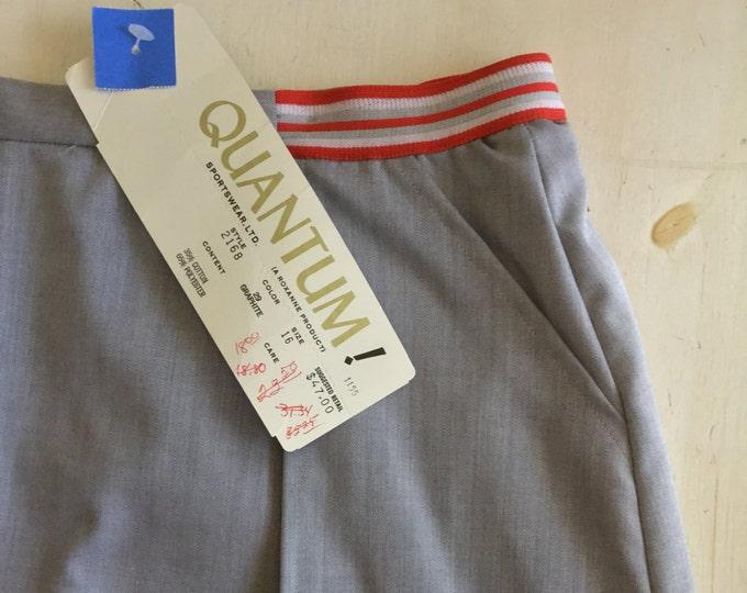 Quantum Sportswear Large Vintage 70s Activewear Gray Culotte Skirt Golf Leisurewear Undershorts