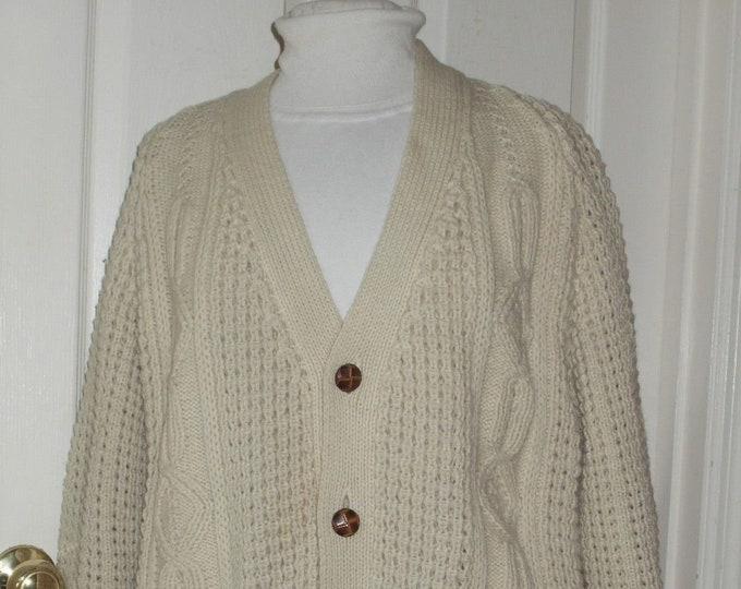 Mens XL Fishermans Knit Cardigan Sweater Aran Wool Handloomed Hand Knit PRISTINE