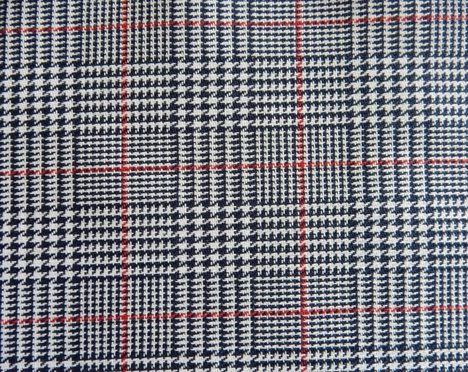 Houndstooth Plaid Fabric Navy Blue White Red For Apparel Home Decorating Quilt Drapery