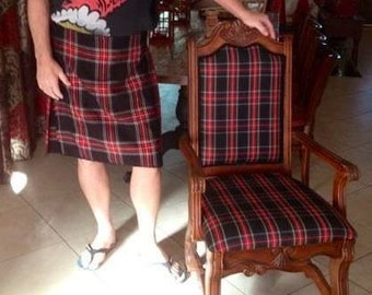 Black Stewart Plaid Fabric Red Black Blue Green Upholstery Home Decorating Crafts Apparel