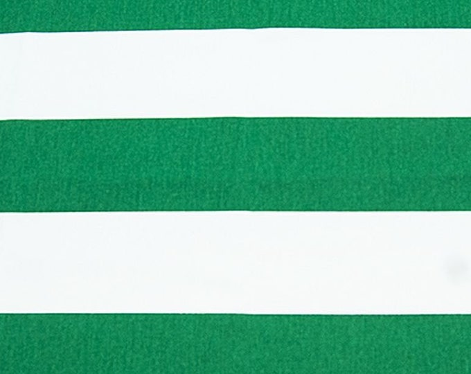 Wide Stripe Green and White Fabric Indoor Awning Apparel Home Decorating Craft
