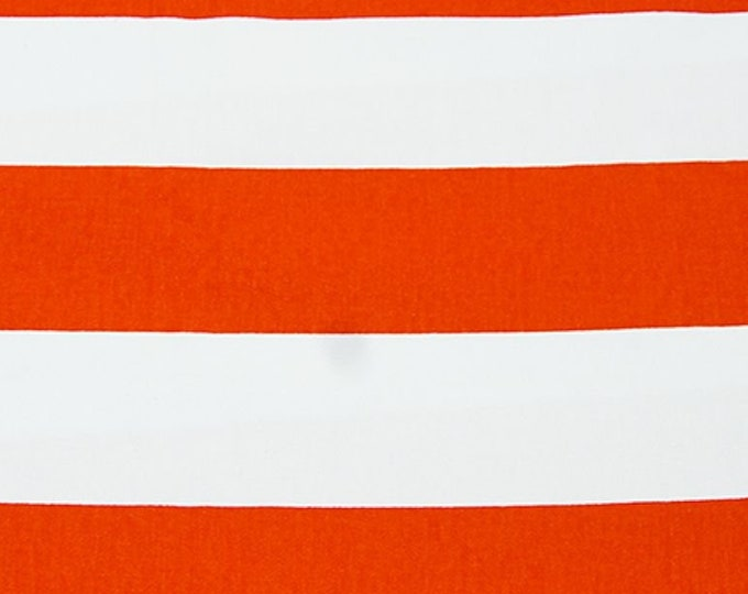 Wide Stripe Orange and White Twill Fabric Apparel Home Decorating Craft