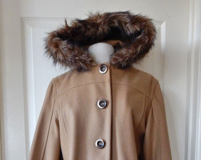 Womens Wool Coat Raccoon Trim Hooded Camel Size 12 MINT CONDITION