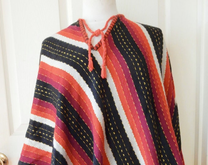 Hand Woven Wool Poncho Red Orange Black ONE SIZE Generous