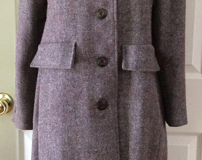 Womens Harris Tweed Wool Overcoat Mauve A Line Winter Fall Coat