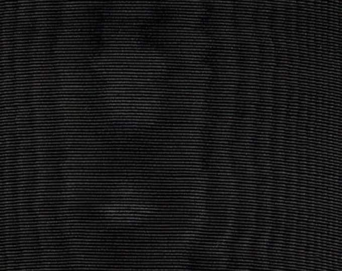 Black Moire Fabric Cotton Blend Home Decor Drapery Heavy Lining Fiber Art Crafting