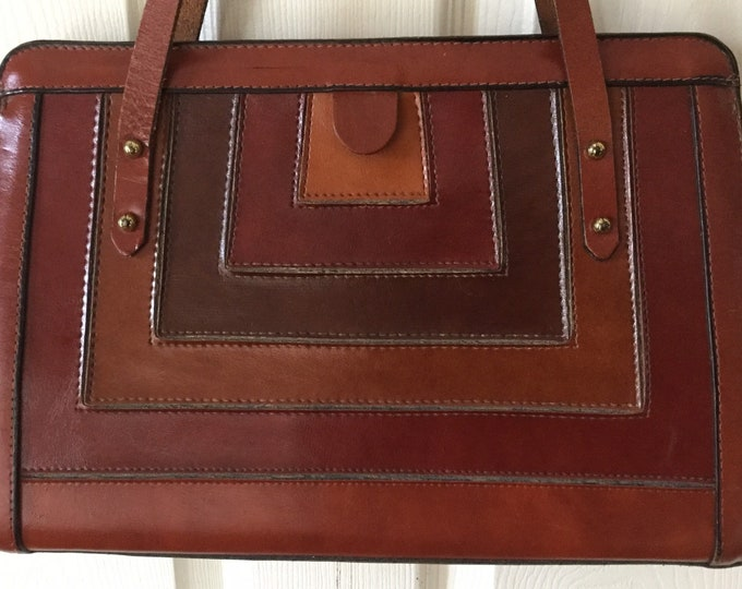 Vintage 60s 70s Geometric Burlington Shoulder Bag Purse  Earthy Colors NICE