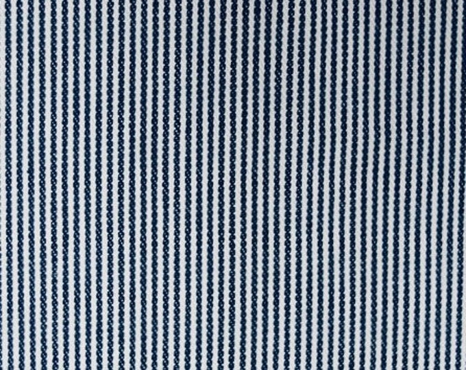 Hickory Stripe Denim Fabric Cotton Blue White Stripes Medium Weight