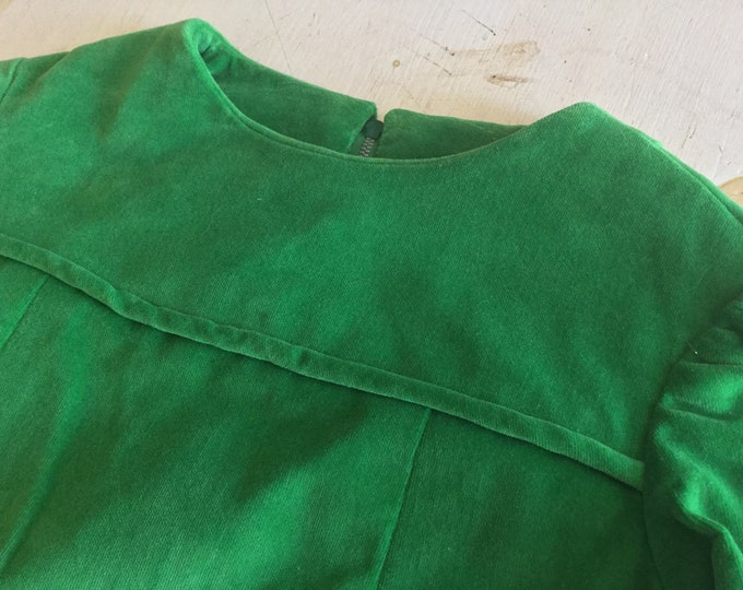 Girls Vintage Floor Length Cotton Green Velvet Dress Christmas Holiday Chest 26 Handmade