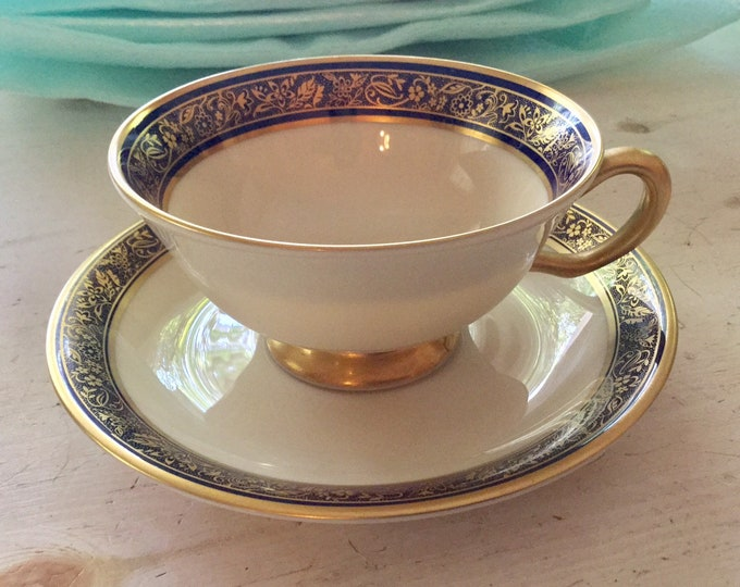 Lenox Barclay Fine China Cup and Saucer Dinnerware Blue Gold Dishes