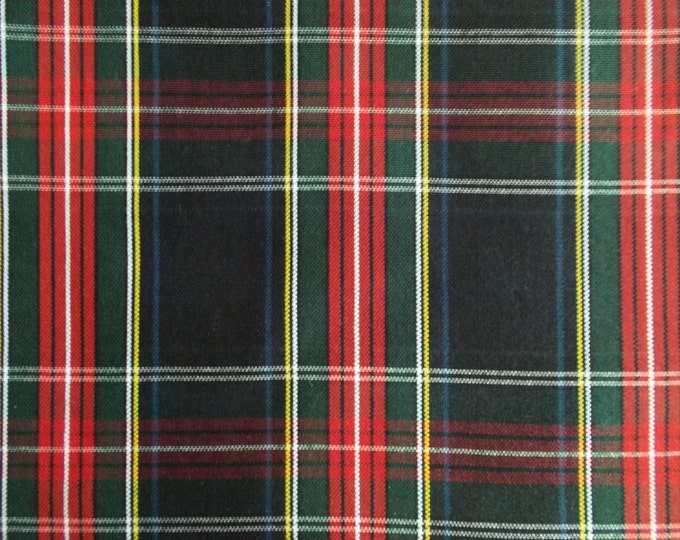 Black Stewart Tartan Plaid Fabric Upholstery Home Decorating Crafts