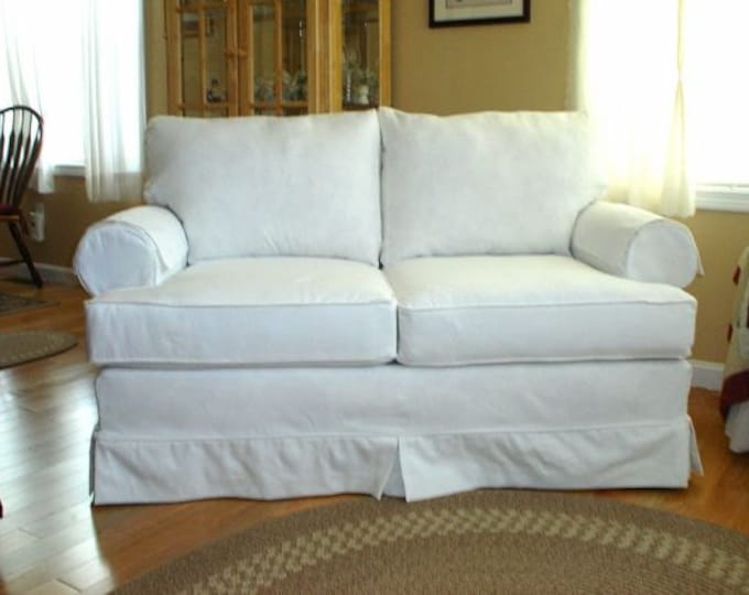 Heavy White Brushed Cotton Twill Fabric Upholstery Slipcovers Pure White Sanded