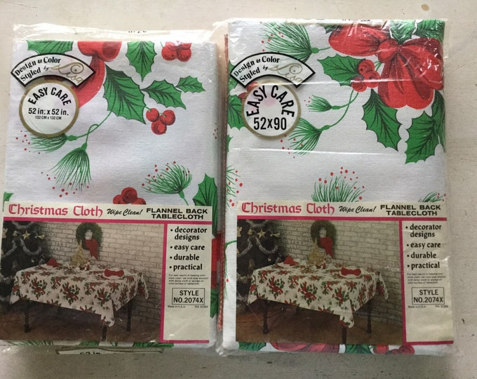 2 New Vintage Vinyl Christmas Holiday Tablecloths Red Bows & Holly Colorful Made In USA