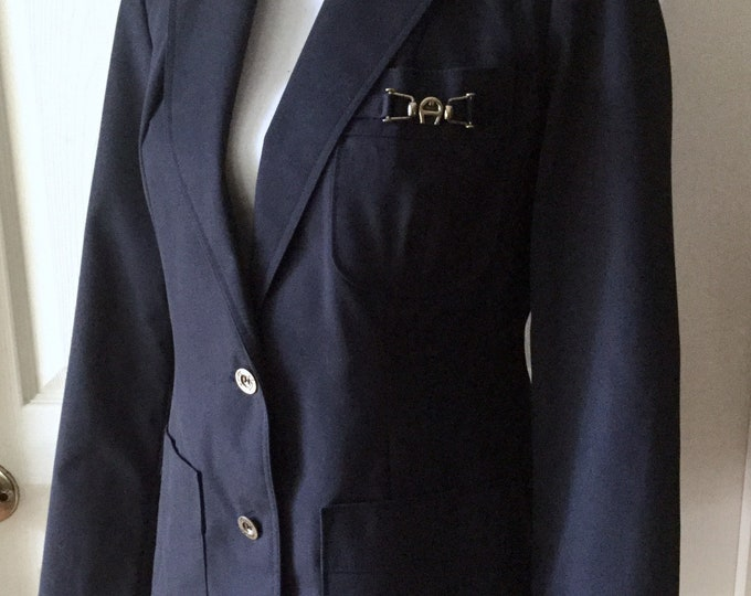 Etienne Aigner Vintage Navy Blue Blazer Medium Size 10 EXCELLENT CONDITION